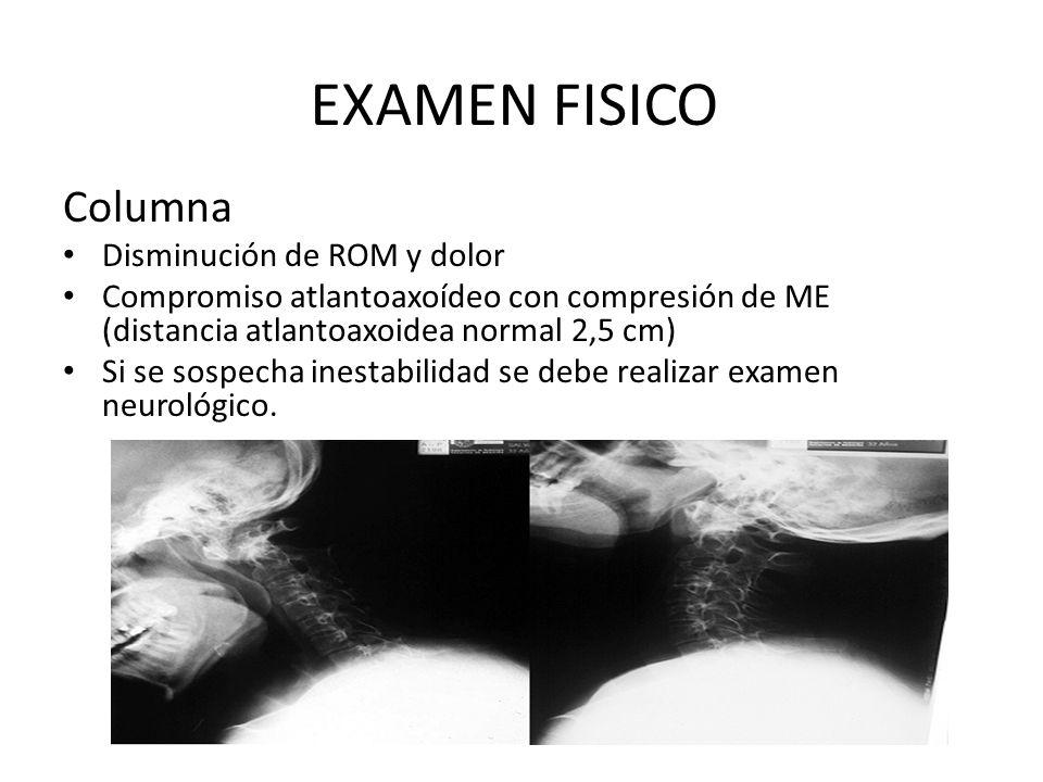 EXAMEN FISICO Columna Disminución de ROM y dolor