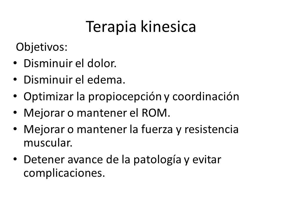 Terapia kinesica Objetivos: Disminuir el dolor. Disminuir el edema.
