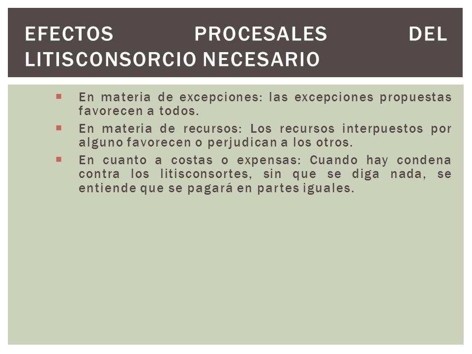 Efectos procesales del Litisconsorcio Necesario
