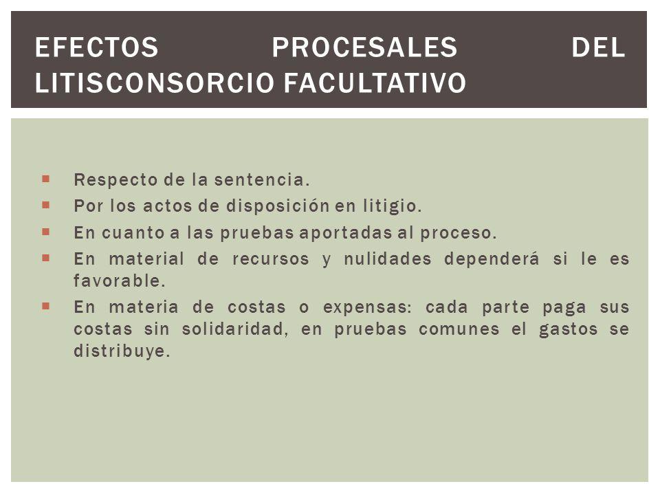 Efectos procesales del litisconsorcio facultativo