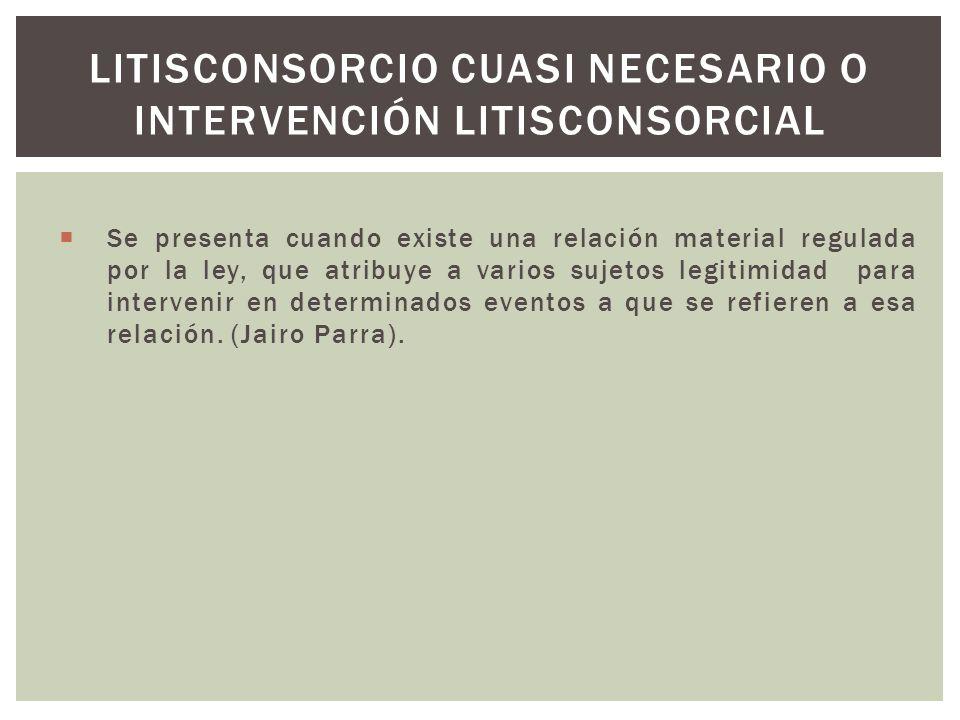 Litisconsorcio cuasi necesario o intervención litisconsorcial