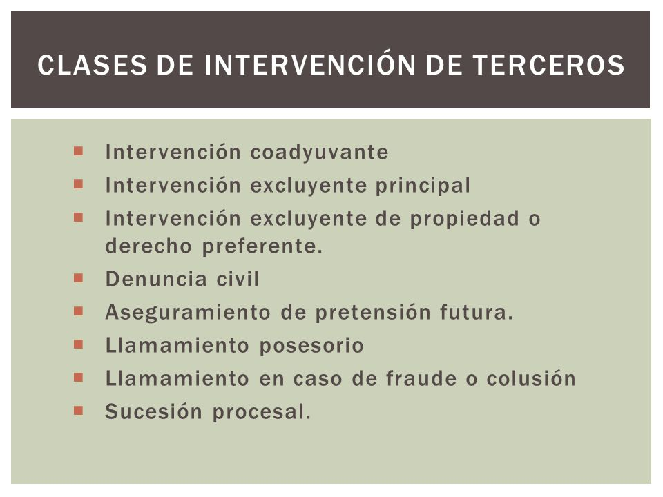 Clases de intervención de terceros