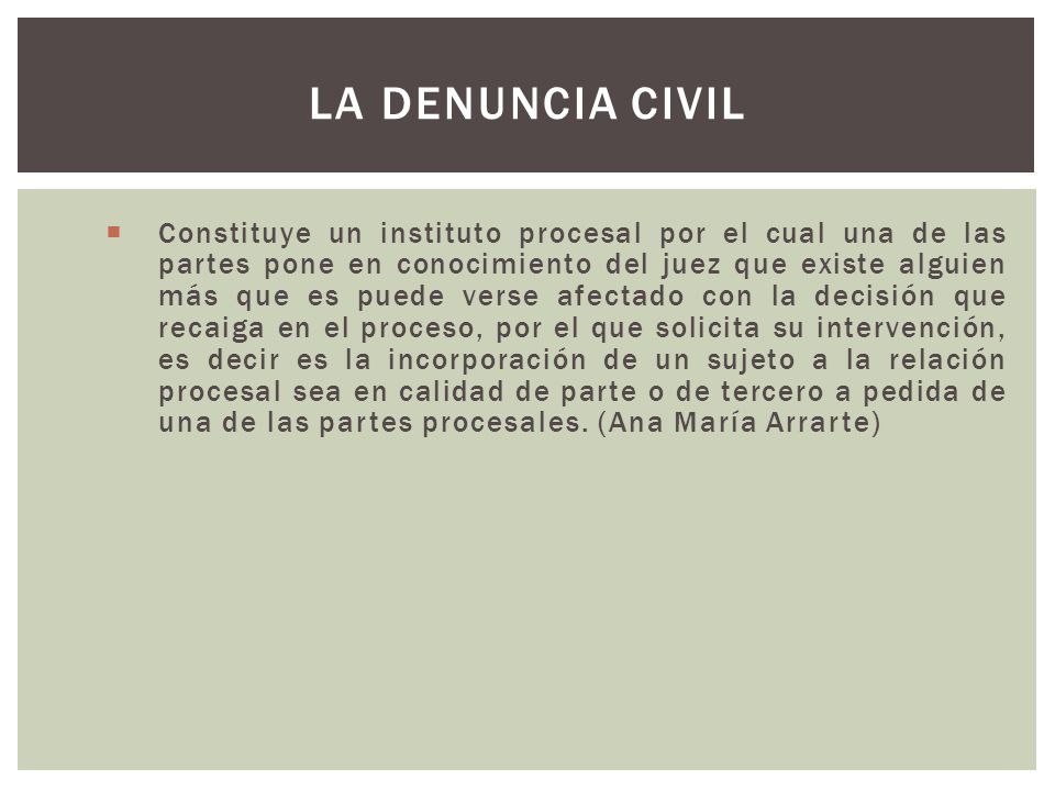 La denuncia civil