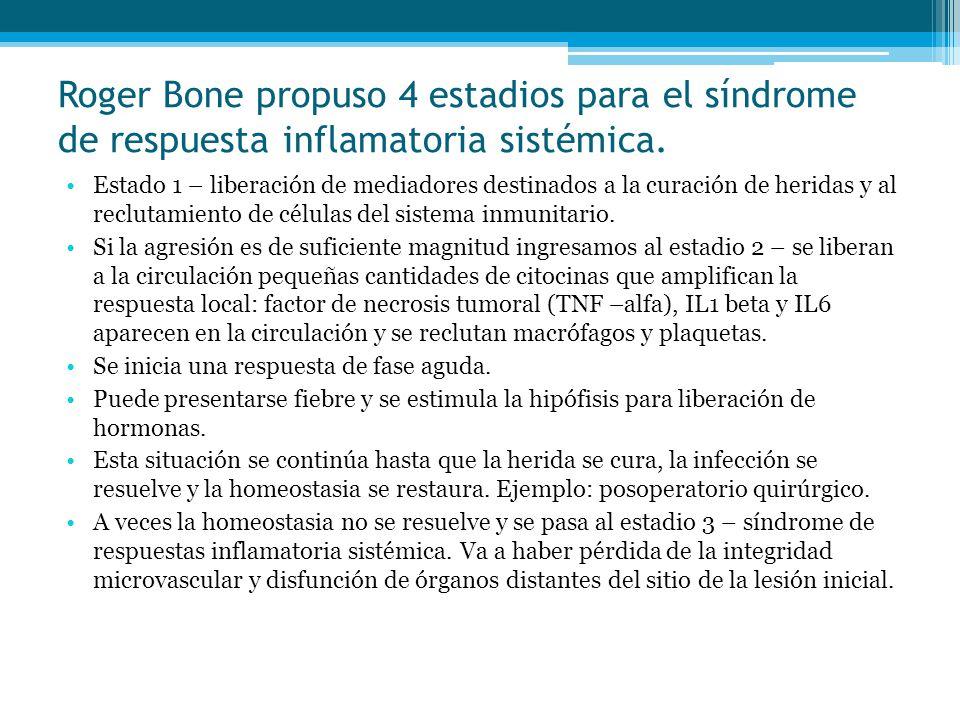 Roger Bone propuso 4 estadios para el síndrome de respuesta inflamatoria sistémica.