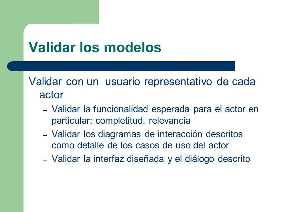 Validar los modelos Validar con un usuario representativo de cada actor