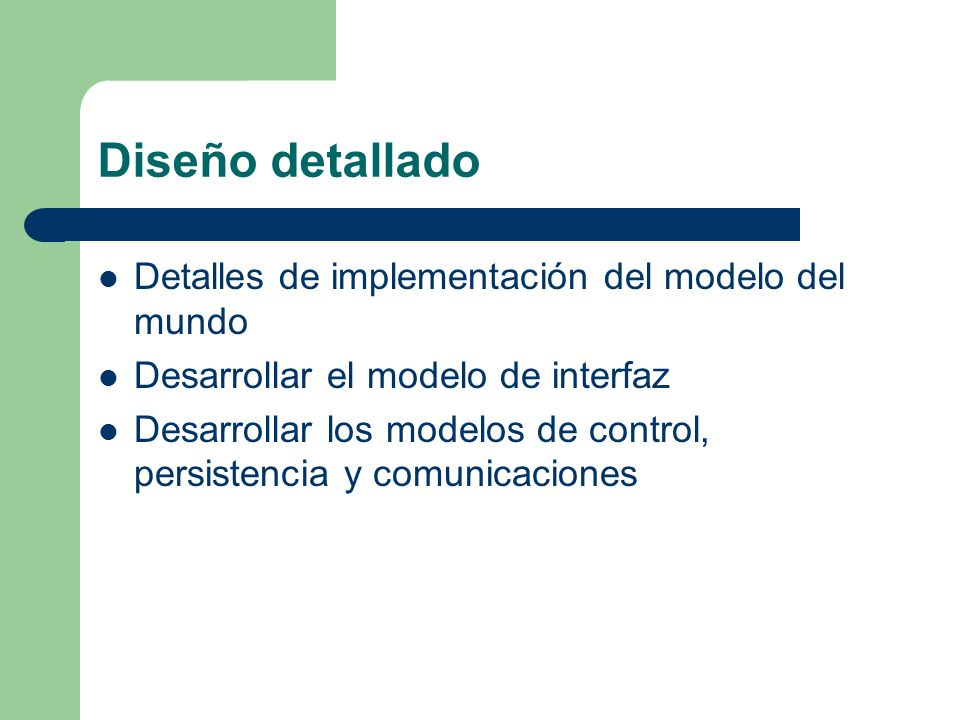 Diseño detallado Detalles de implementación del modelo del mundo