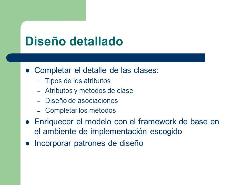 Diseño detallado Completar el detalle de las clases: