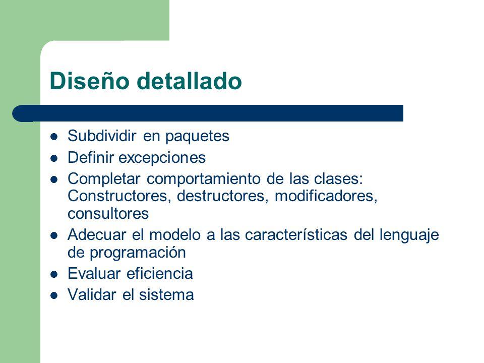 Diseño detallado Subdividir en paquetes Definir excepciones
