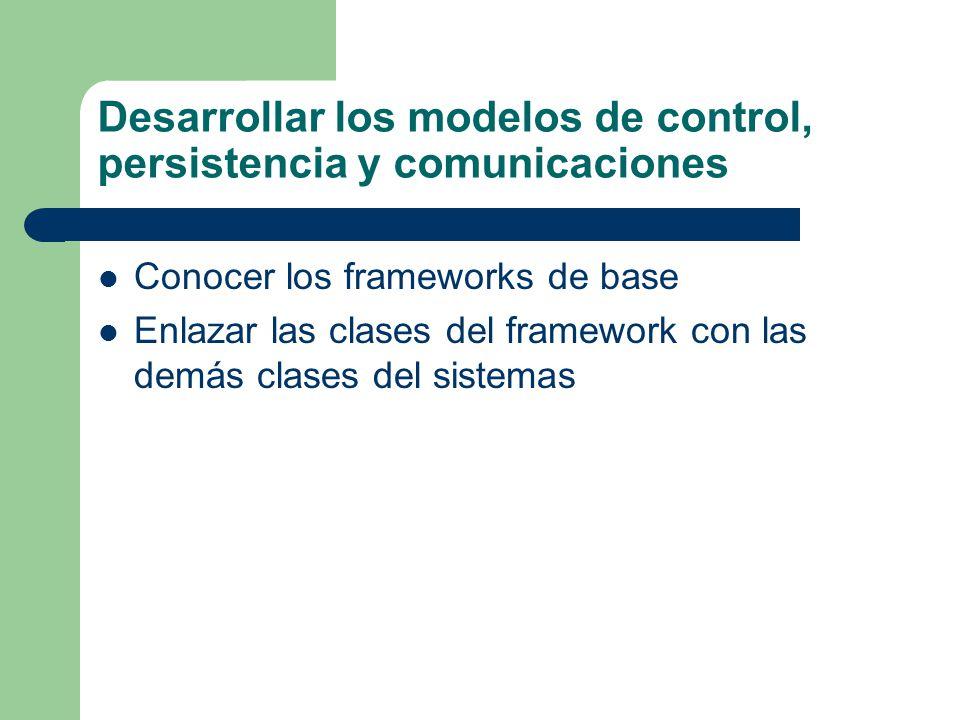Desarrollar los modelos de control, persistencia y comunicaciones