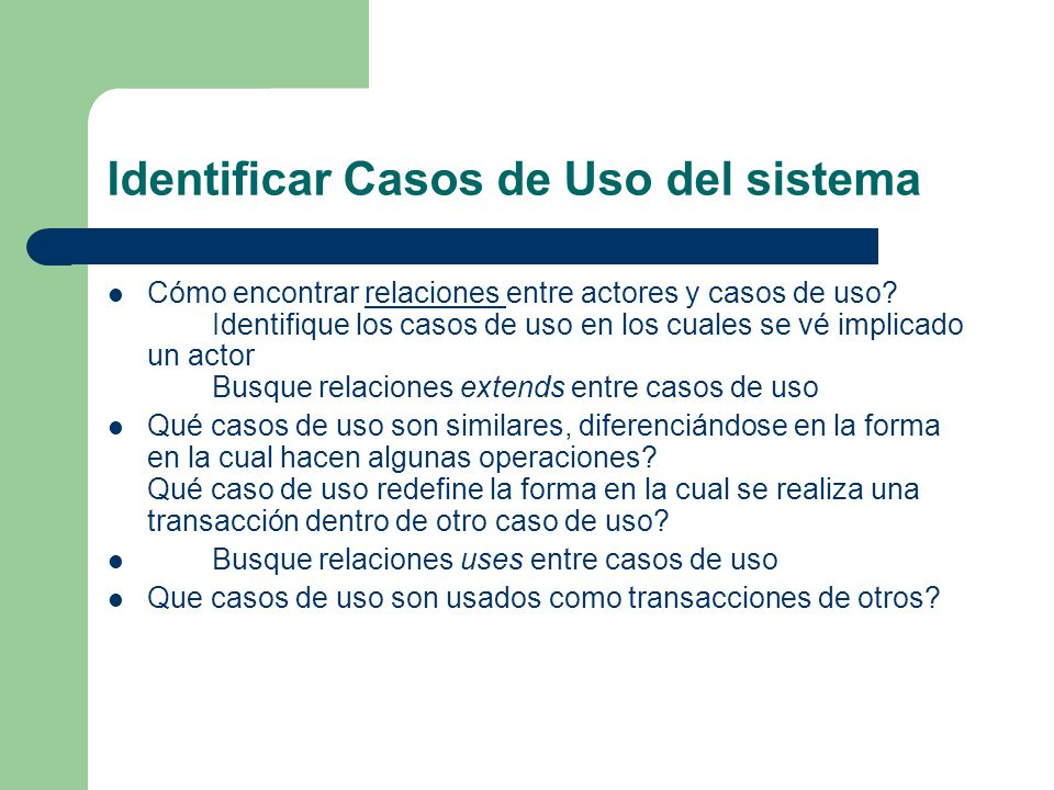 Identificar Casos de Uso del sistema