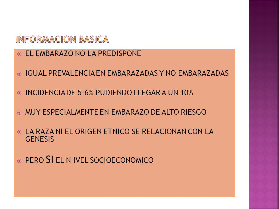 INFORMACION BASICA EL EMBARAZO NO LA PREDISPONE