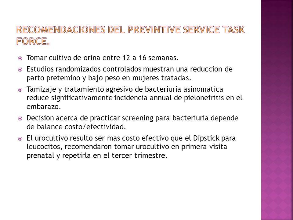 Recomendaciones del previntive service task force.