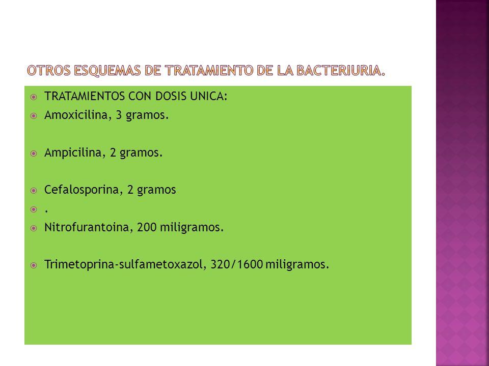 Otros esquemas de tratamiento de la bacteriuria.