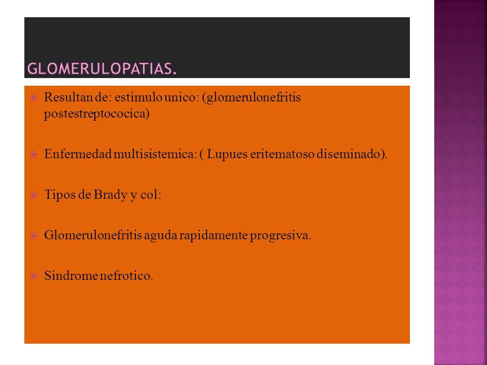GLOMERULOPATIAS. Resultan de: estimulo unico: (glomerulonefritis postestreptococica) Enfermedad multisistemica: ( Lupues eritematoso diseminado).