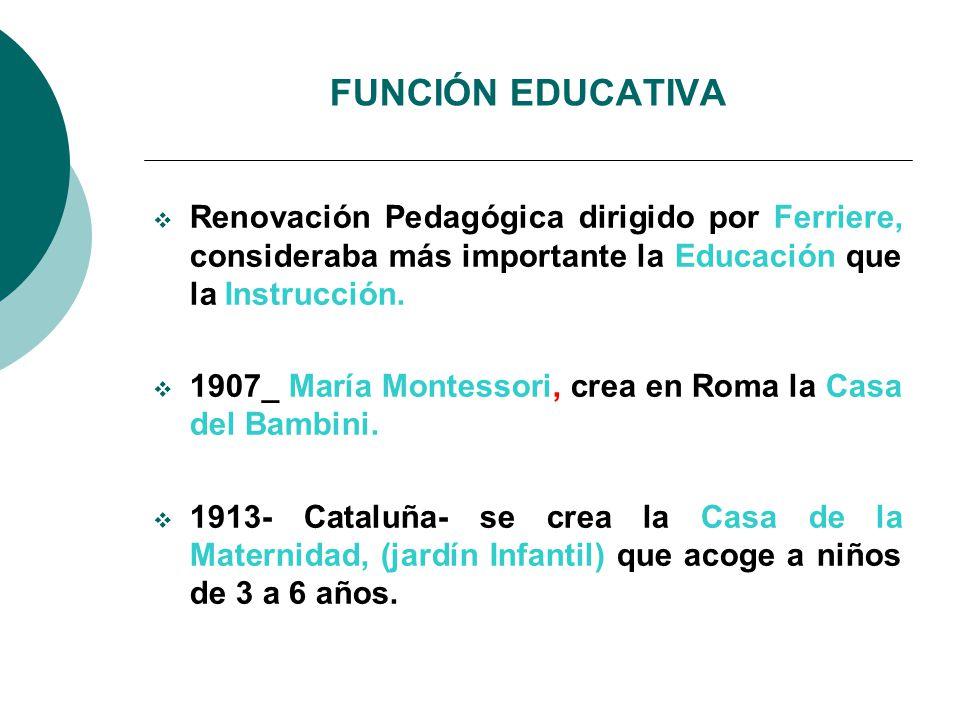 FUNCIÓN EDUCATIVA Renovación Pedagógica dirigido por Ferriere, consideraba más importante la Educación que la Instrucción.