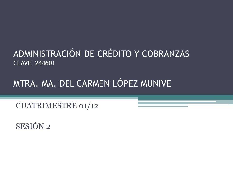 ADMINISTRACIÓN DE CRÉDITO Y COBRANZAS CLAVE 244601 MTRA. MA