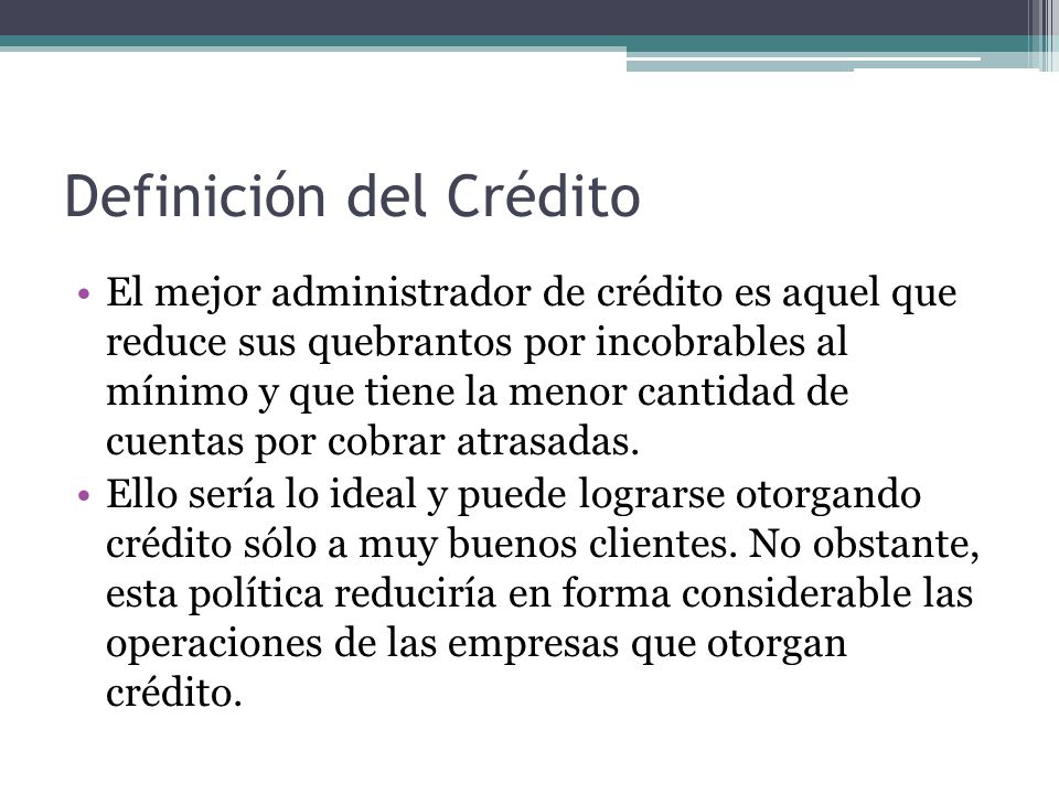 Definición del Crédito