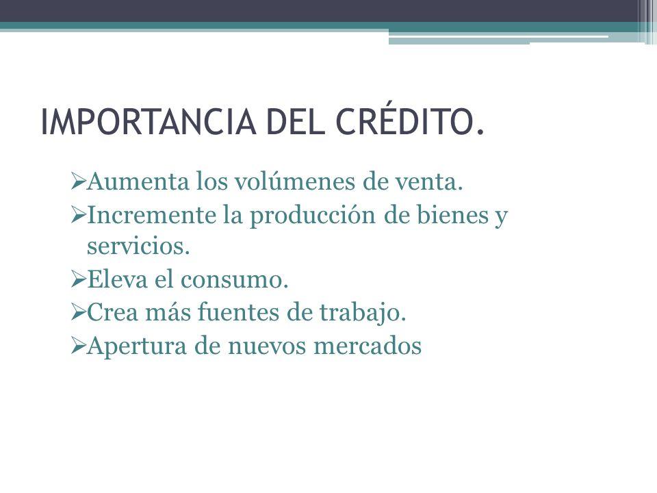 IMPORTANCIA DEL CRÉDITO.
