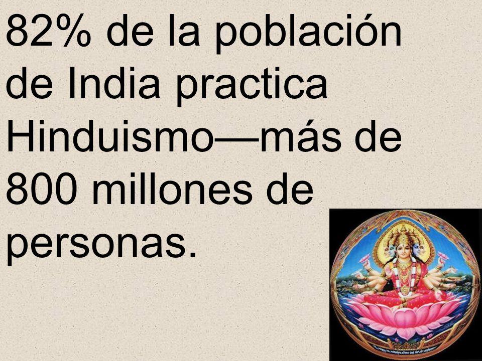 82% de la población de India practica Hinduismo—más de 800 millones de personas.