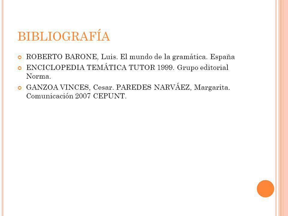 BIBLIOGRAFÍA ROBERTO BARONE, Luis. El mundo de la gramática. España