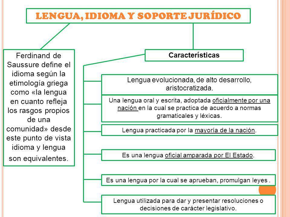 LENGUA, IDIOMA Y SOPORTE JURÍDICO