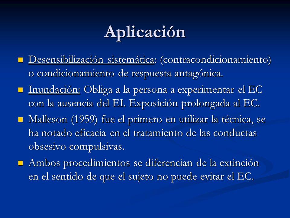 Aplicación Desensibilización sistemática: (contracondicionamiento) o condicionamiento de respuesta antagónica.