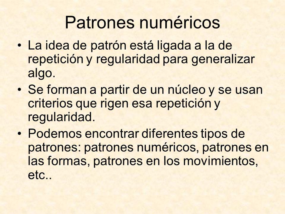 Patrones numéricos La idea de patrón está ligada a la de repetición y regularidad para generalizar algo.