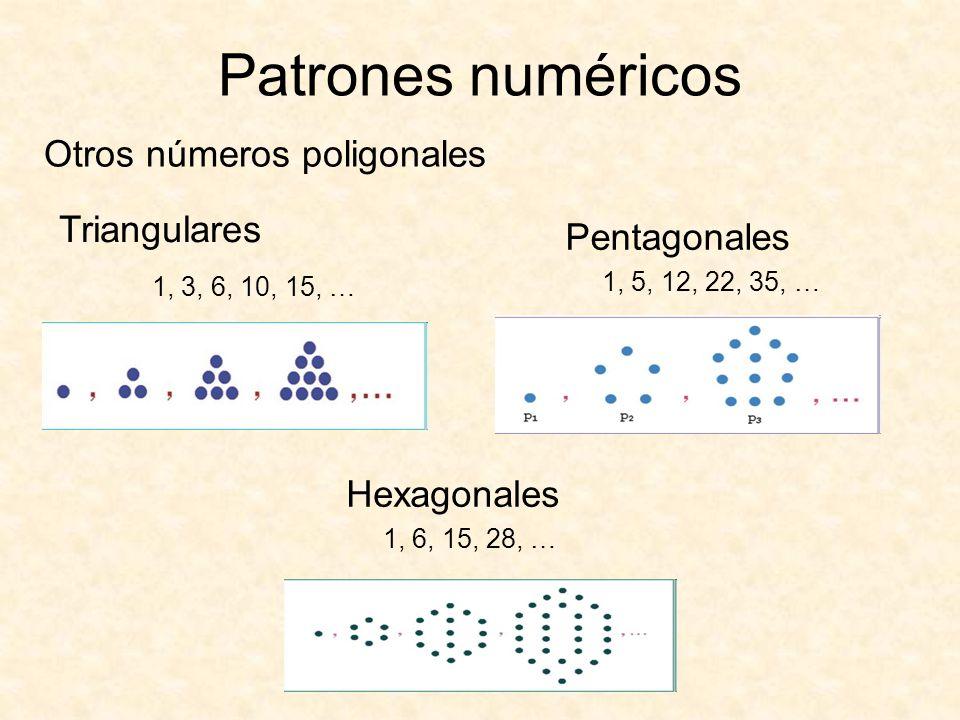 Patrones numéricos Otros números poligonales Triangulares Pentagonales