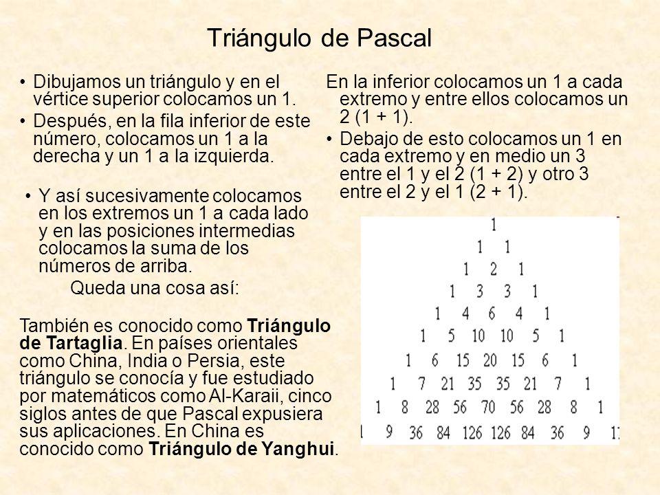 Triángulo de Pascal Dibujamos un triángulo y en el vértice superior colocamos un 1.