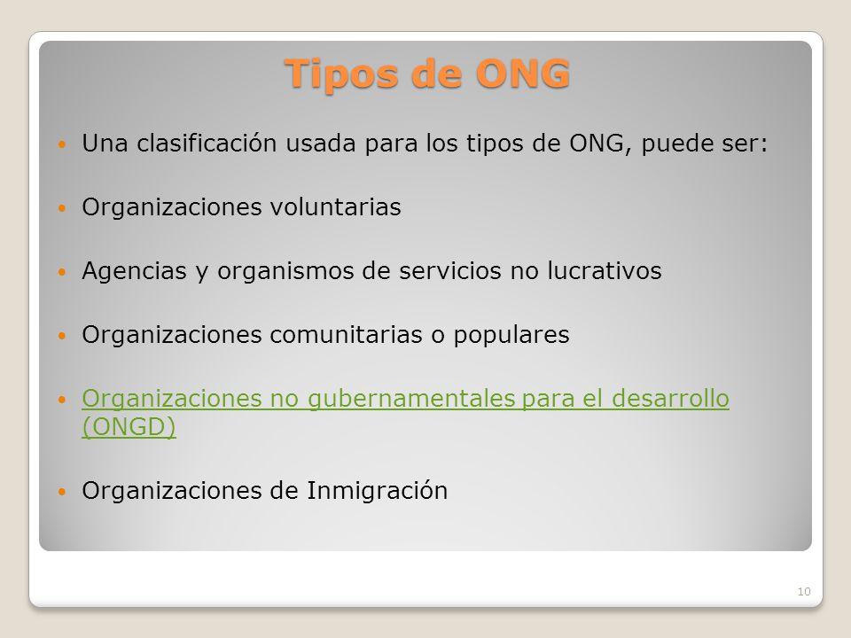Tipos de ONG Una clasificación usada para los tipos de ONG, puede ser:
