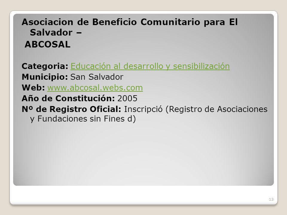 Asociacion de Beneficio Comunitario para El Salvador – ABCOSAL