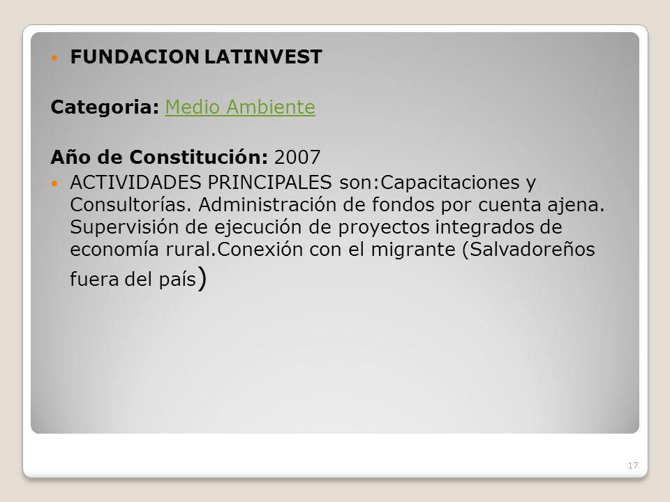 FUNDACION LATINVEST Categoria: Medio Ambiente. Año de Constitución: 2007.