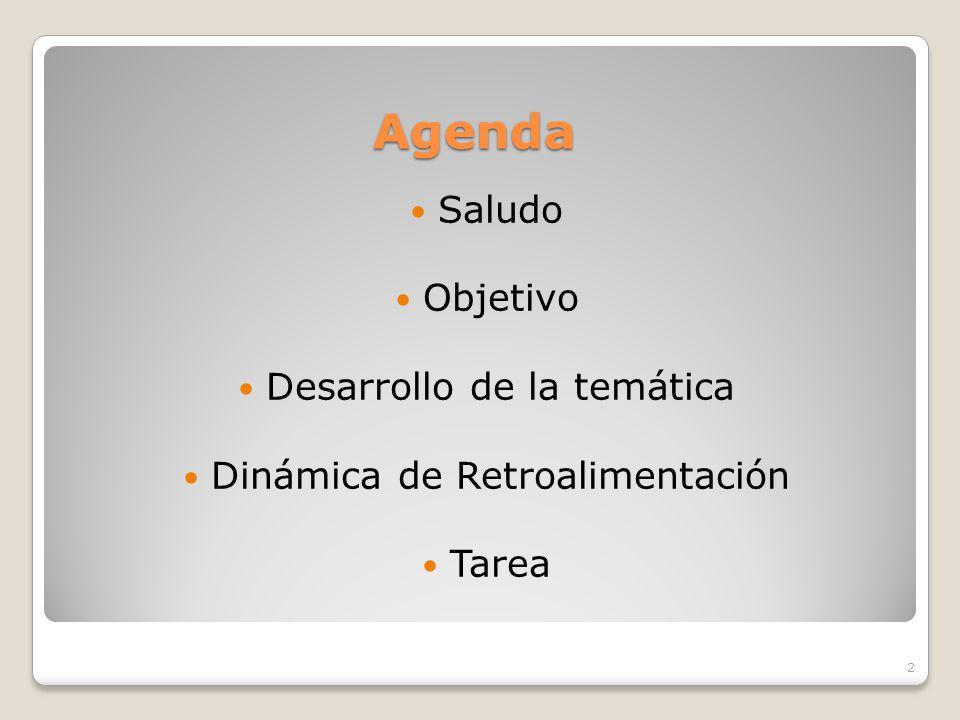 Agenda Saludo Objetivo Desarrollo de la temática