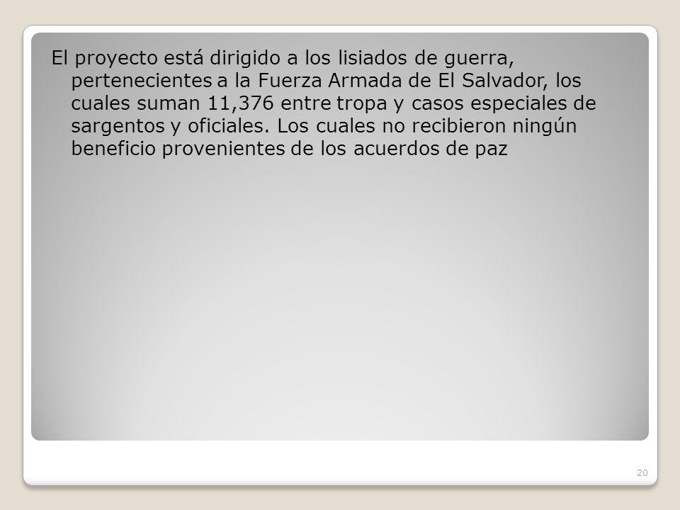 El proyecto está dirigido a los lisiados de guerra, pertenecientes a la Fuerza Armada de El Salvador, los cuales suman 11,376 entre tropa y casos especiales de sargentos y oficiales.