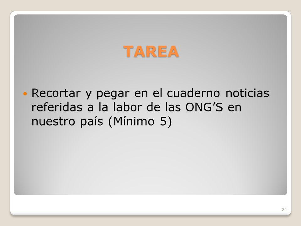 TAREA Recortar y pegar en el cuaderno noticias referidas a la labor de las ONG'S en nuestro país (Mínimo 5)