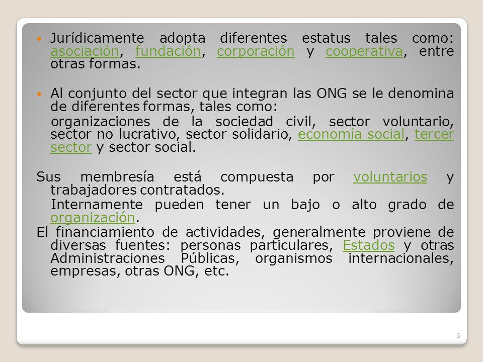 Jurídicamente adopta diferentes estatus tales como: asociación, fundación, corporación y cooperativa, entre otras formas.