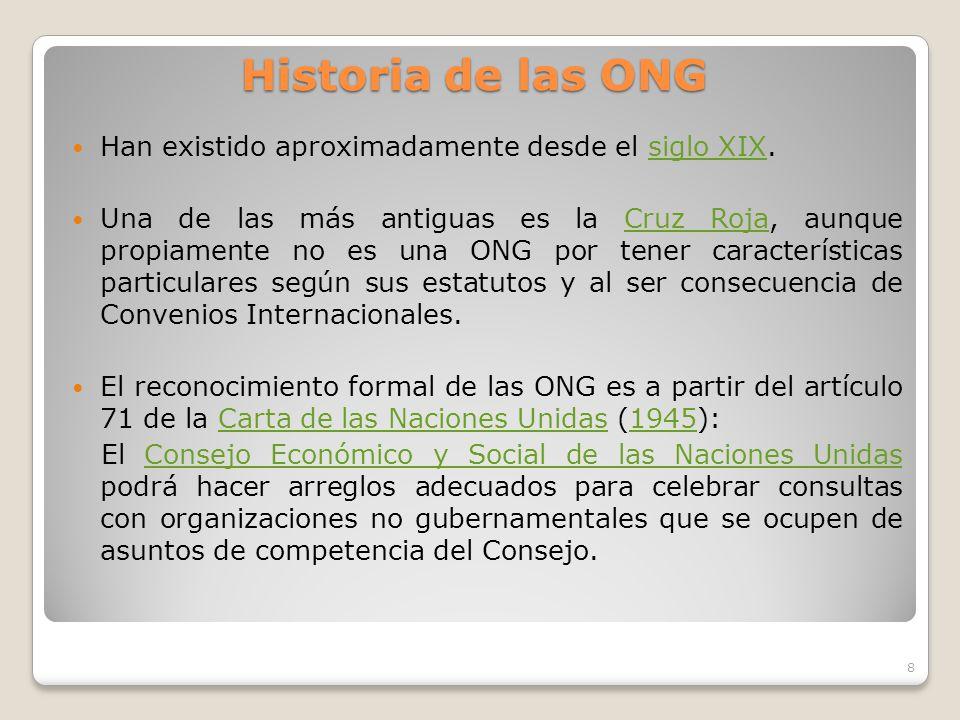 Historia de las ONG Han existido aproximadamente desde el siglo XIX.
