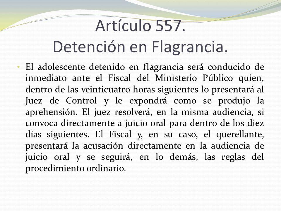 Artículo 557. Detención en Flagrancia.