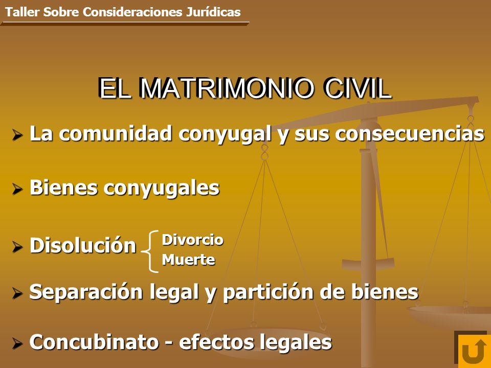 EL MATRIMONIO CIVIL La comunidad conyugal y sus consecuencias