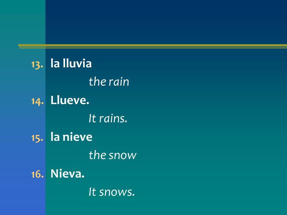 la lluvia the rain Llueve. It rains. la nieve the snow Nieva. It snows.