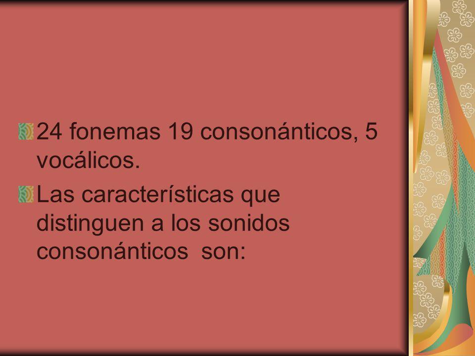24 fonemas 19 consonánticos, 5 vocálicos.
