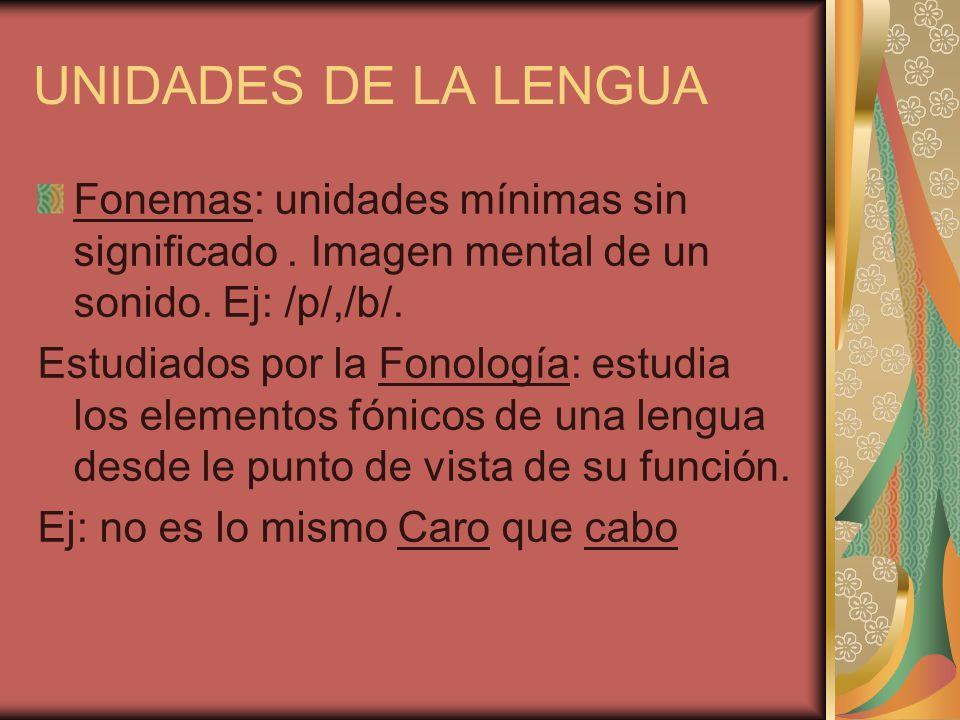 UNIDADES DE LA LENGUA Fonemas: unidades mínimas sin significado . Imagen mental de un sonido. Ej: /p/,/b/.