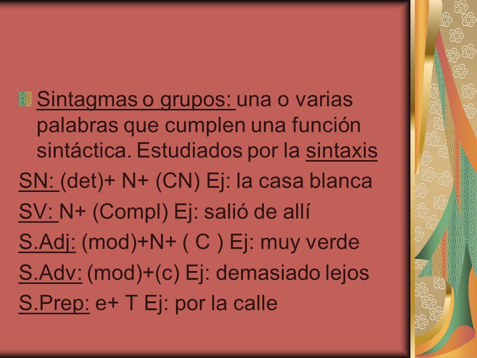 Sintagmas o grupos: una o varias palabras que cumplen una función sintáctica. Estudiados por la sintaxis