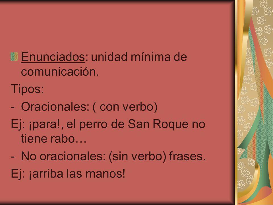 Enunciados: unidad mínima de comunicación.