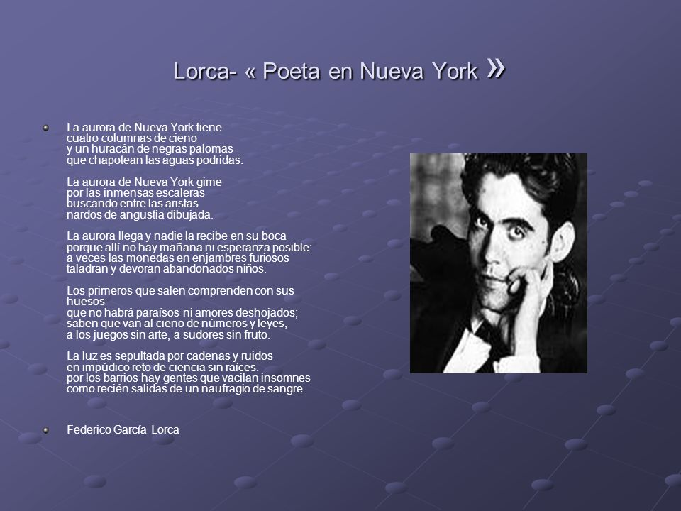 Lorca- « Poeta en Nueva York »