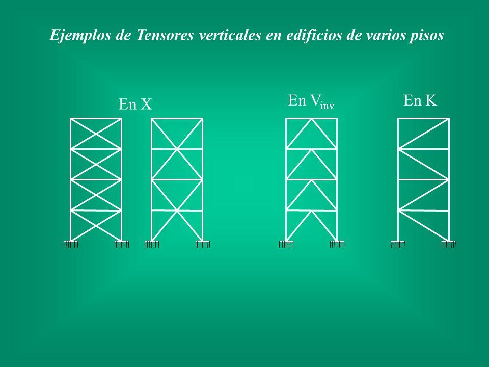 Ejemplos de Tensores verticales en edificios de varios pisos