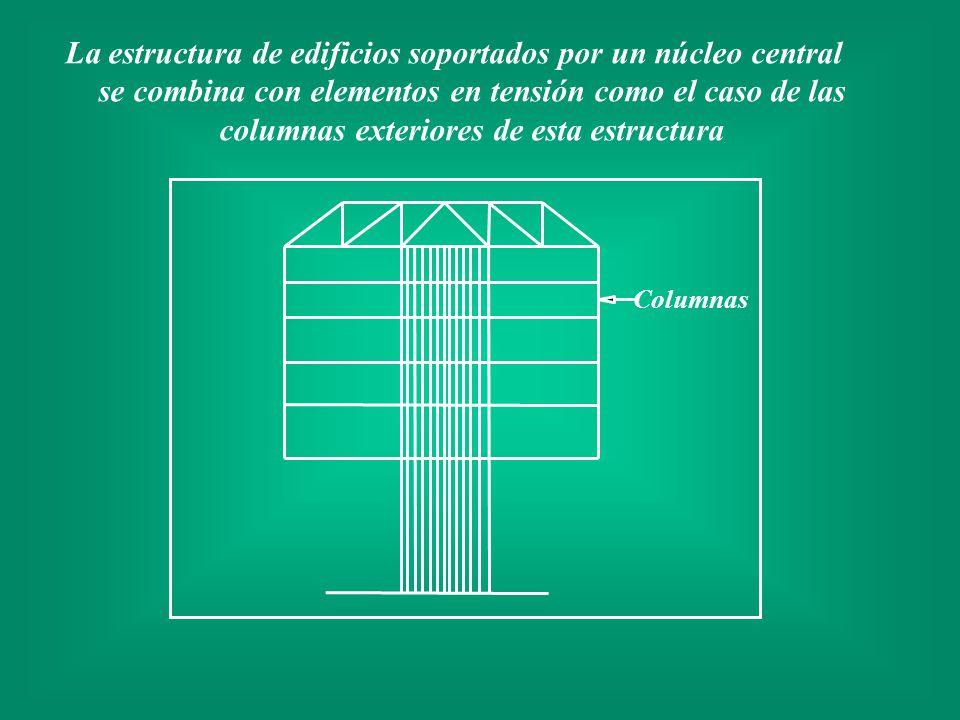 La estructura de edificios soportados por un núcleo central se combina con elementos en tensión como el caso de las columnas exteriores de esta estructura