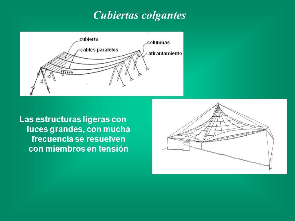 Cubiertas colgantes Las estructuras ligeras con luces grandes, con mucha frecuencia se resuelven con miembros en tensión.