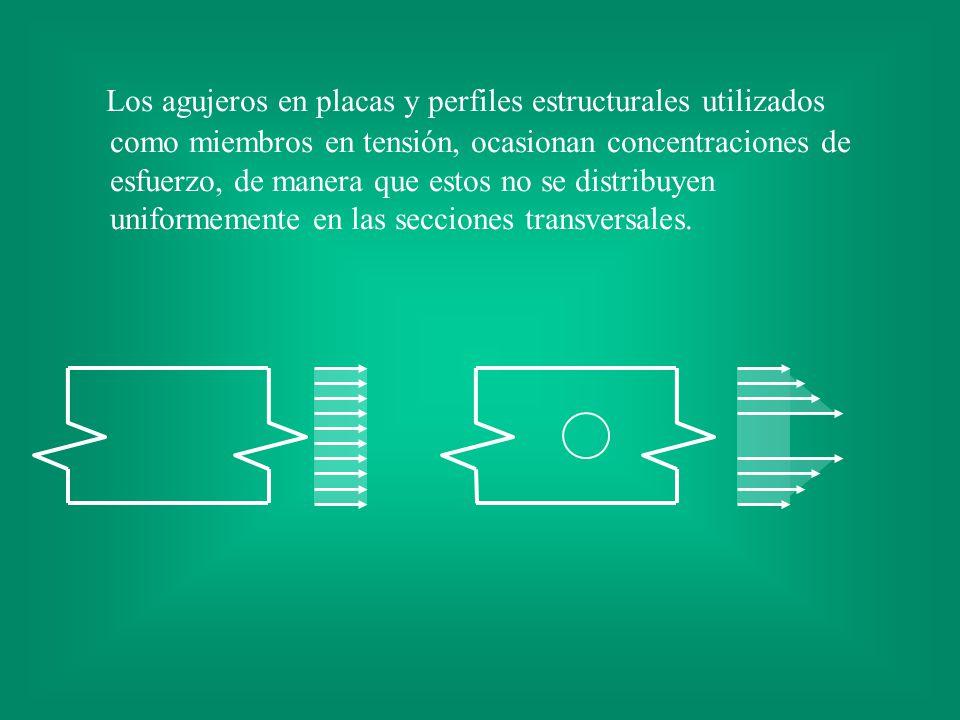 Los agujeros en placas y perfiles estructurales utilizados como miembros en tensión, ocasionan concentraciones de esfuerzo, de manera que estos no se distribuyen uniformemente en las secciones transversales.
