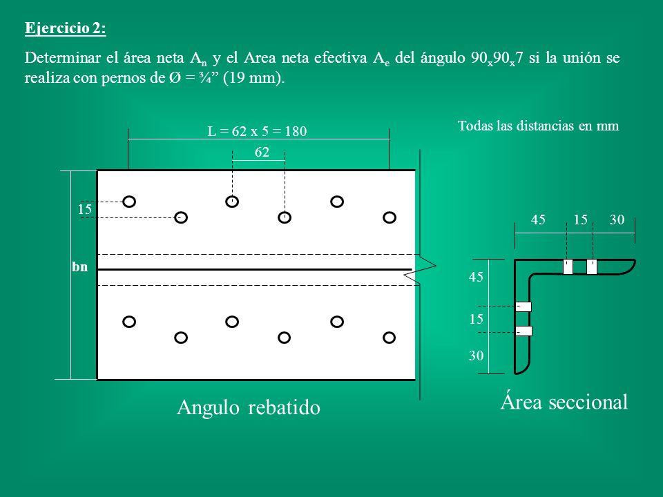 Área seccional Angulo rebatido Ejercicio 2: